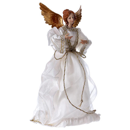 Angel in resin with white robe 35 cm 4