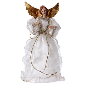 Anges: Ange avec tissu blanc en résine 35 cm