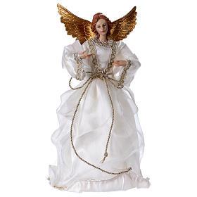 Angelo con stoffa bianca in resina 35 cm  s1