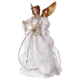 Angelo con stoffa bianca in resina 35 cm  s3
