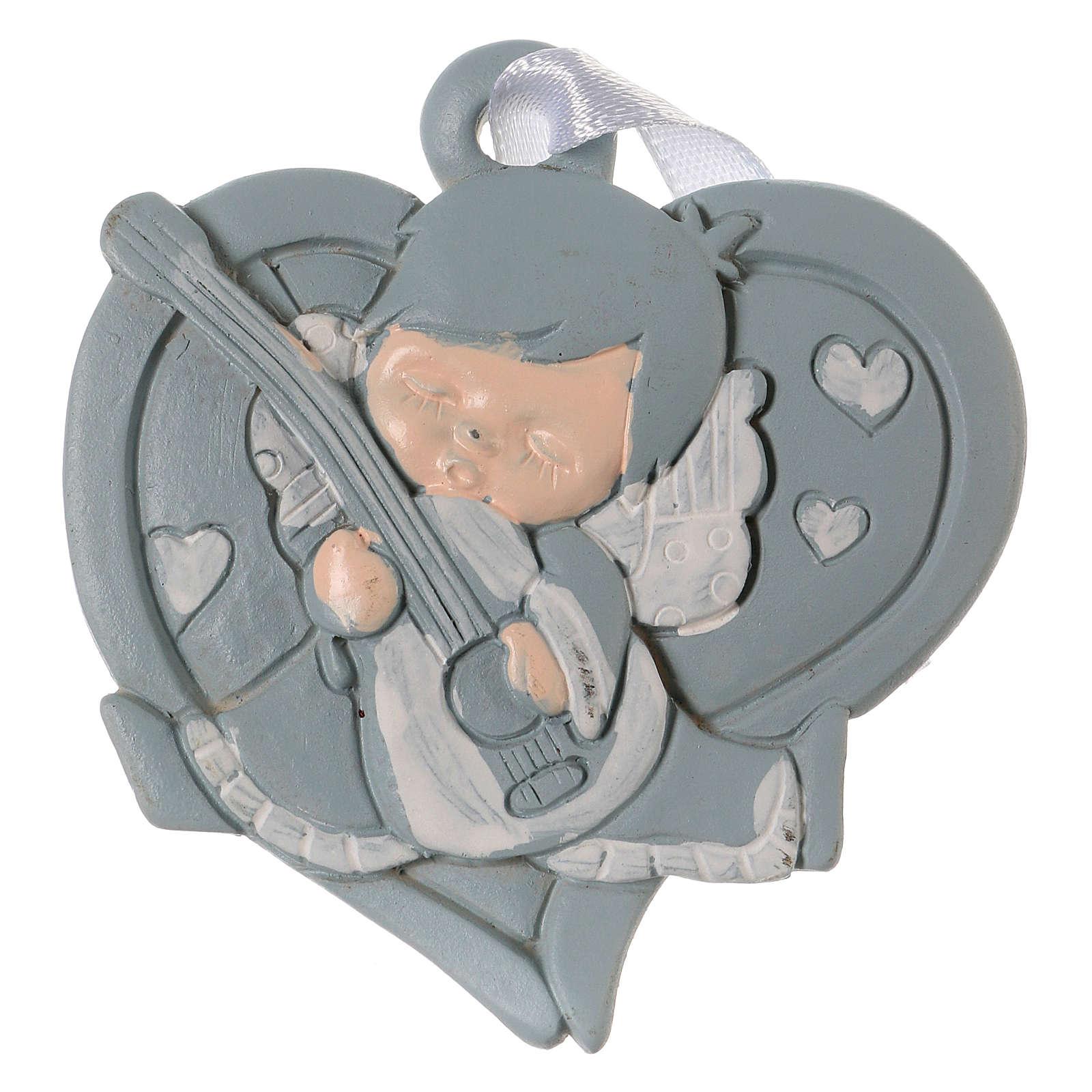 Angeli 6 cm in resina colorata su cuore azzurro da appendere 20 pz conf. 3