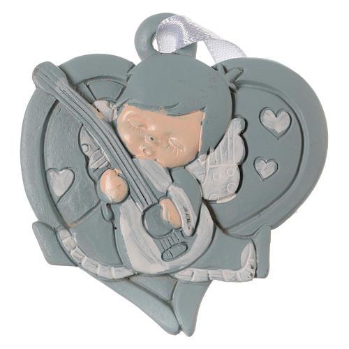 Angeli 6 cm in resina colorata su cuore azzurro da appendere 20 pz conf. 1
