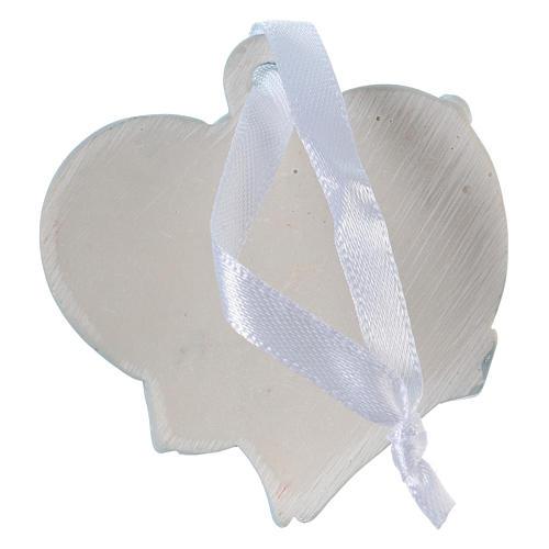 Angeli 6 cm in resina colorata su cuore azzurro da appendere 20 pz conf. 2