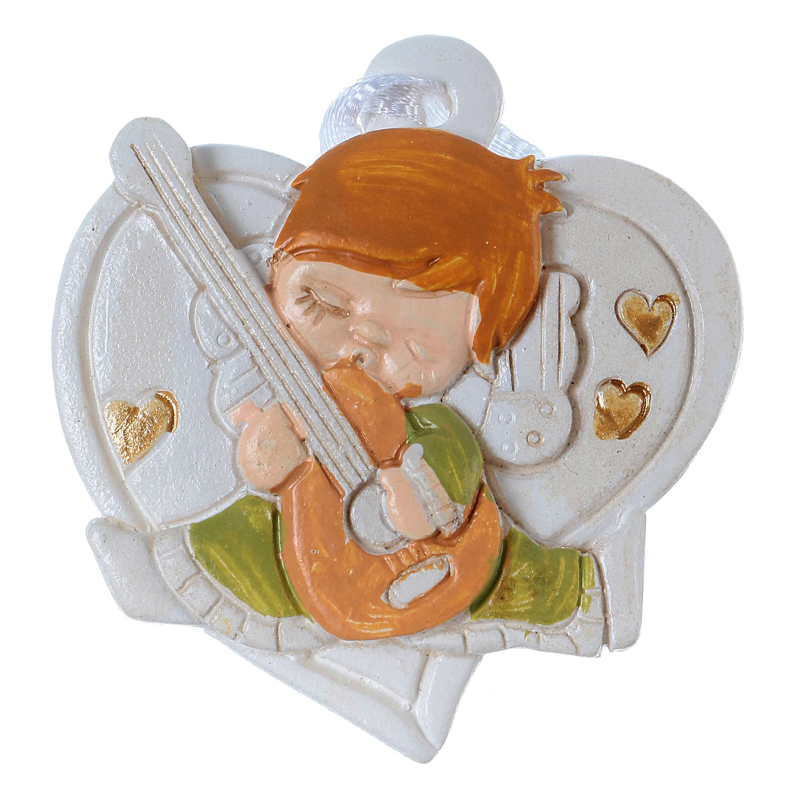 Angel 4 cm on white heart to be hanged 20 pieces 3
