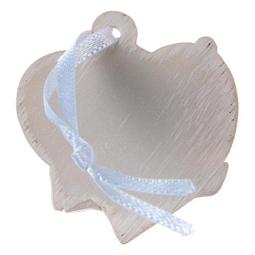 Anges 4,5 cm en résine colorée sur coeur beige à suspendre 20 pcs emballage 2