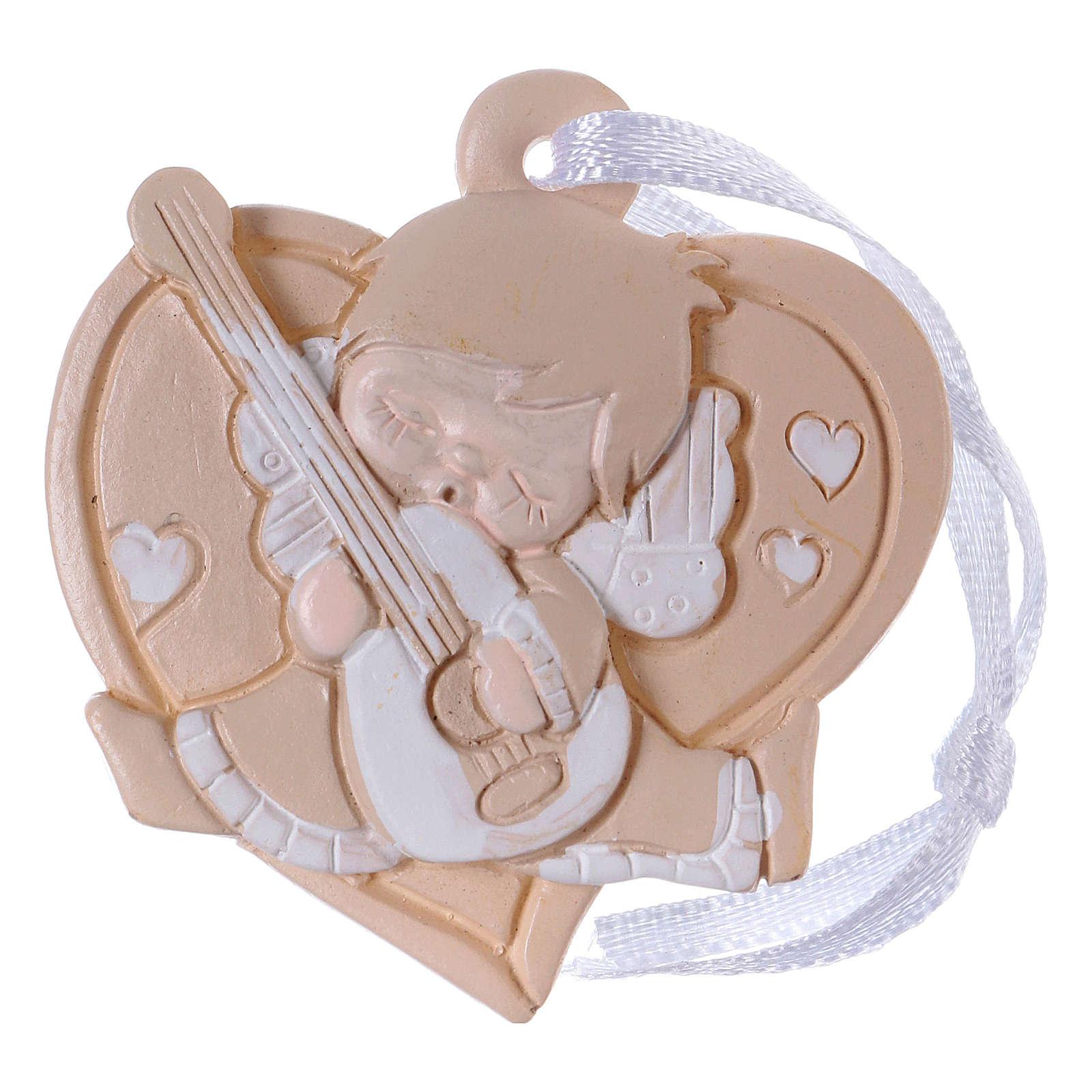 Angeli 4,5 cm in resina colorata su cuore beige da appendere 20 pz conf 3
