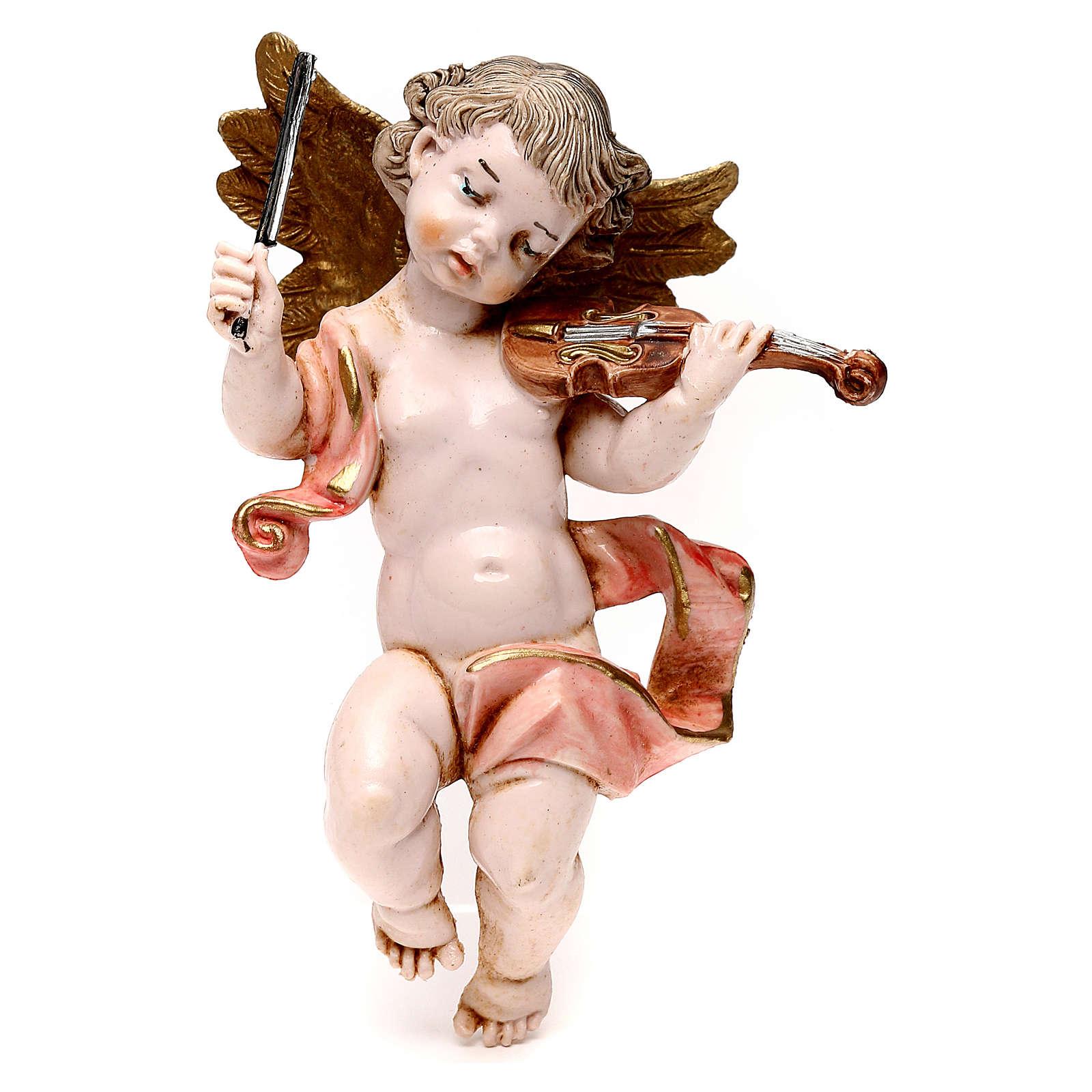 STOCK Angelo musicista in pvc misura 11 cm con violino Fontanini 3