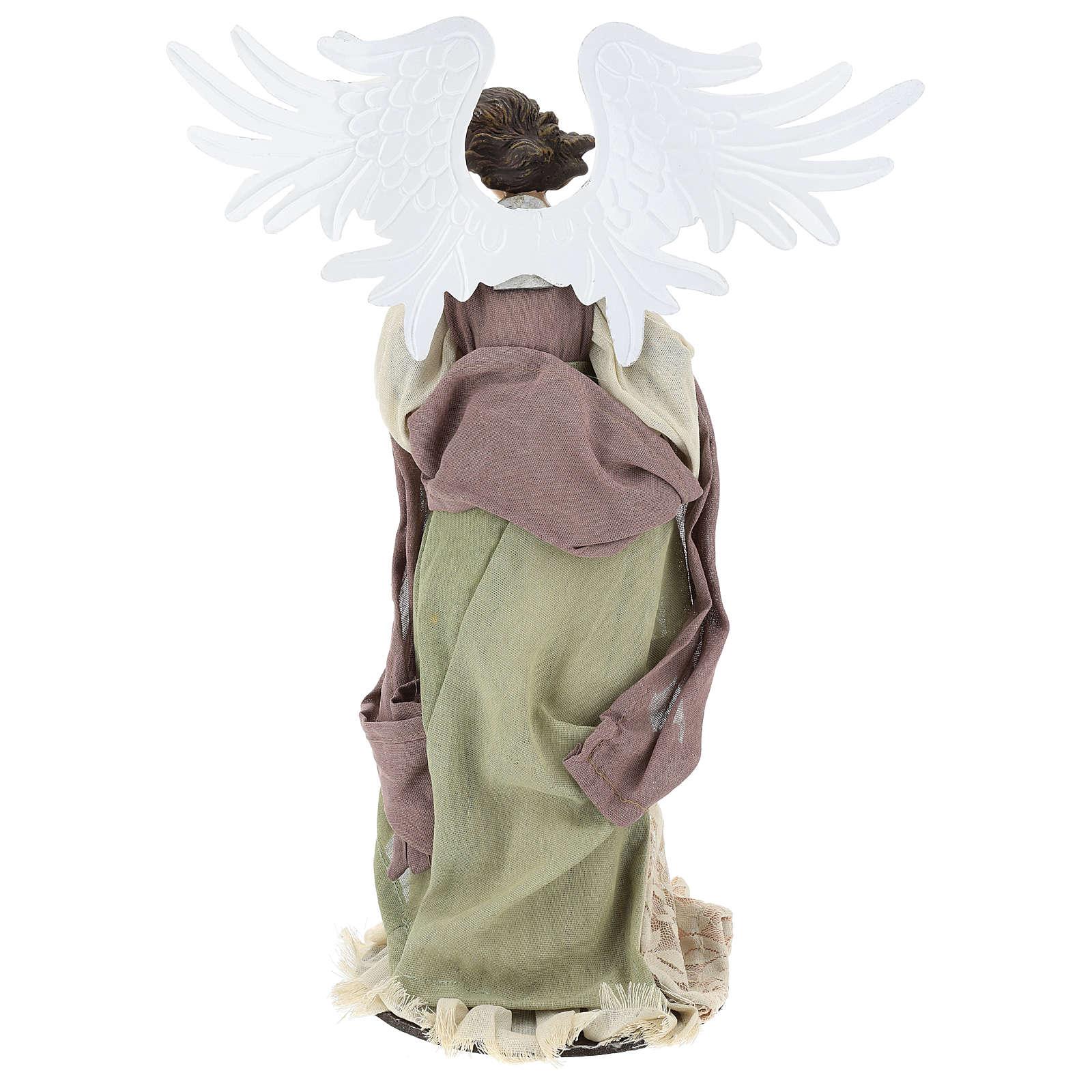 Ange 40 cm avec violon habillé en gaze et dentelle 3