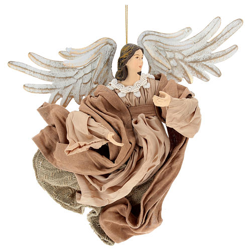 Anjo em vôo em terracota com cabeça para a direita 1