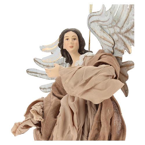 Anjo em vôo em terracota com cabeça para a direita 2
