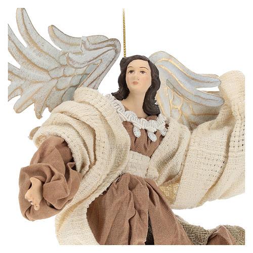 Anjo em vôo em terracota com cabeça para a esquerda 2