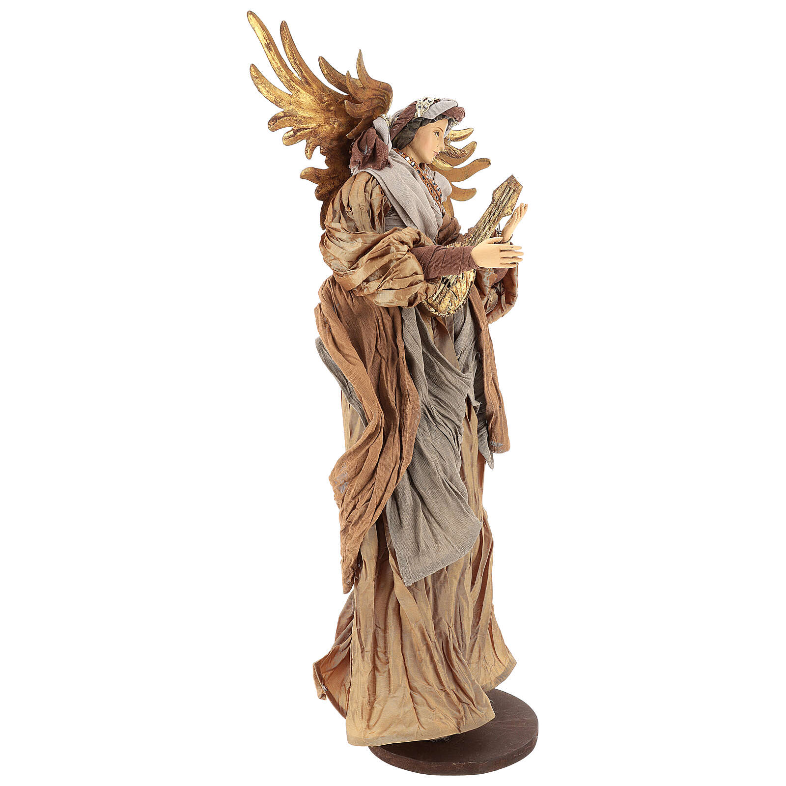 Shabby Chic style resin angel 45 cm with mandolin and bronze coloured fabric dress 3