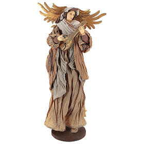 Shabby Chic style resin angel 45 cm with mandolin and bronze coloured fabric dress s1