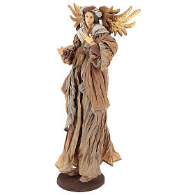 Shabby Chic style resin angel 45 cm with mandolin and bronze coloured fabric dress s3