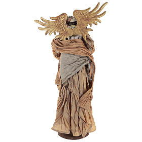 Shabby Chic style resin angel 45 cm with mandolin and bronze coloured fabric dress s5