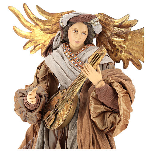 Shabby Chic style resin angel 45 cm with mandolin and bronze coloured fabric dress 2
