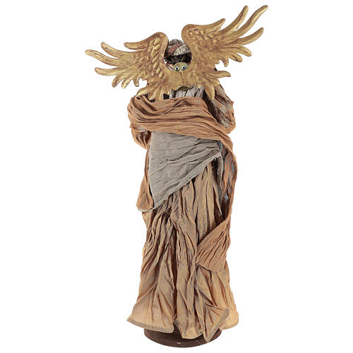 Shabby Chic style resin angel 45 cm with mandolin and bronze coloured fabric dress 5