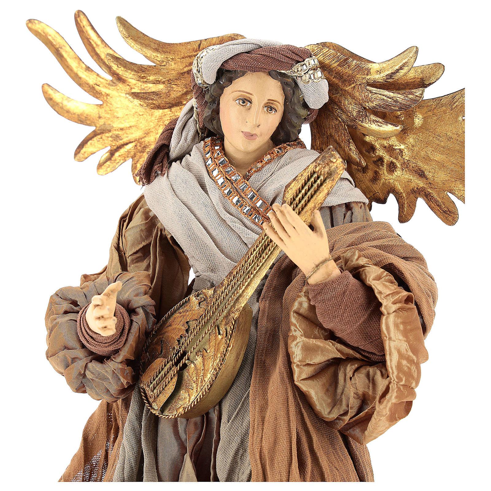 Ángel 45 cm con mandolina de tejido color bronce 3
