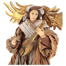 Ange 45 cm avec mandoline robe en tissu couleur bronze s2