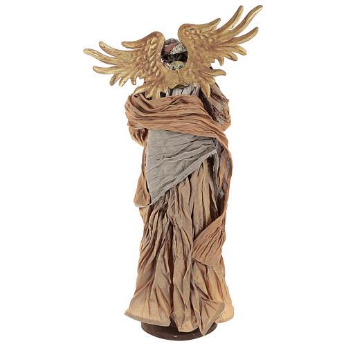 Ange 45 cm avec mandoline robe en tissu couleur bronze 5