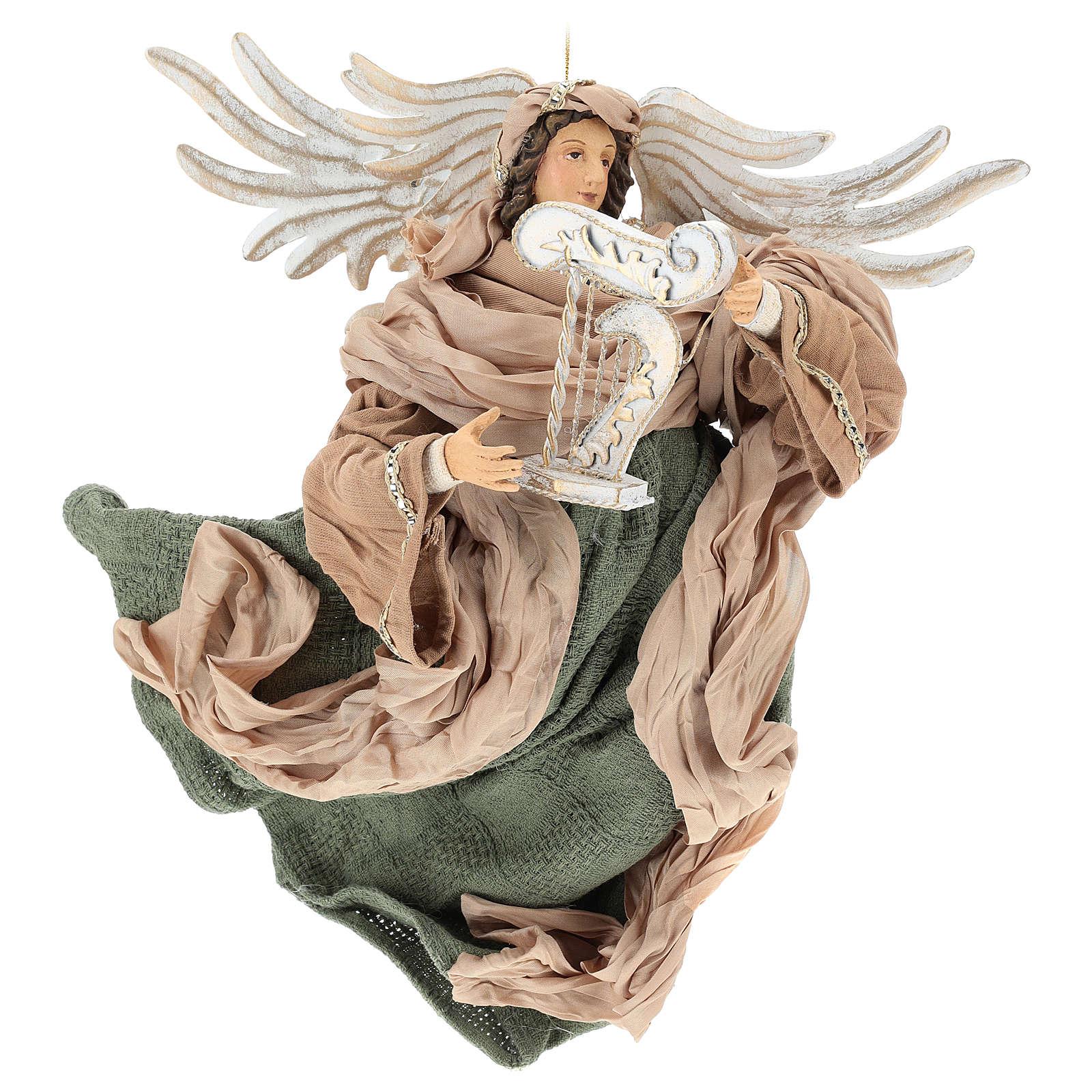 Ange en vol 35 cm en terre cuite détails en tissu 3