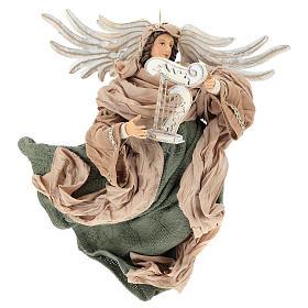 Ange en vol 35 cm en terre cuite détails en tissu s1
