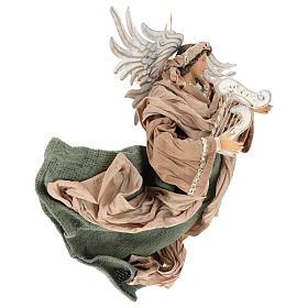 Ange en vol 35 cm en terre cuite détails en tissu s4