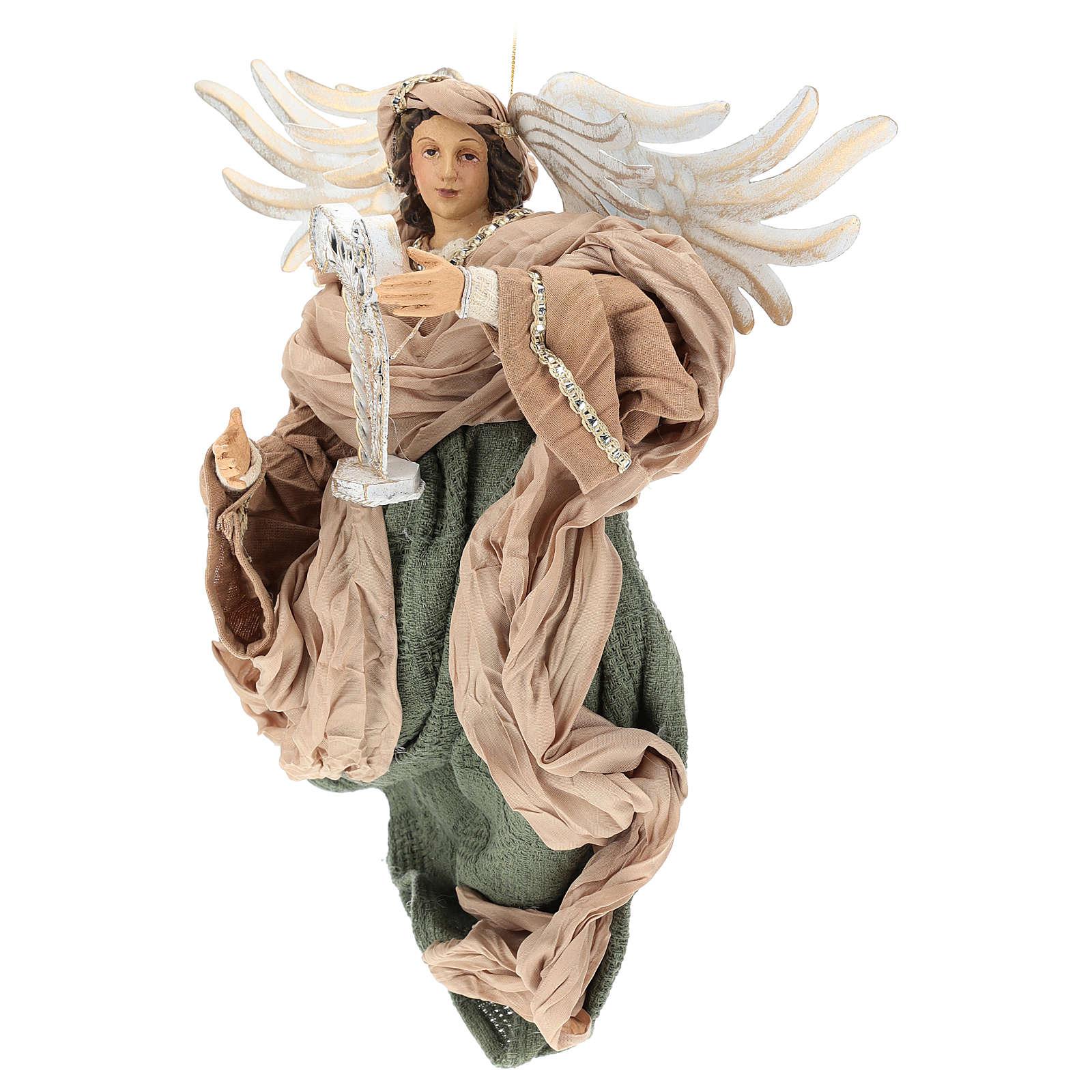 Angelo in volo 35 cm in resina dettagli in tessuto 3