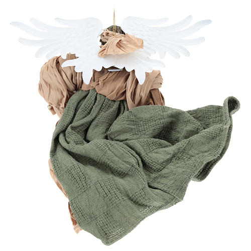 Angelo in volo 35 cm in resina dettagli in tessuto 5