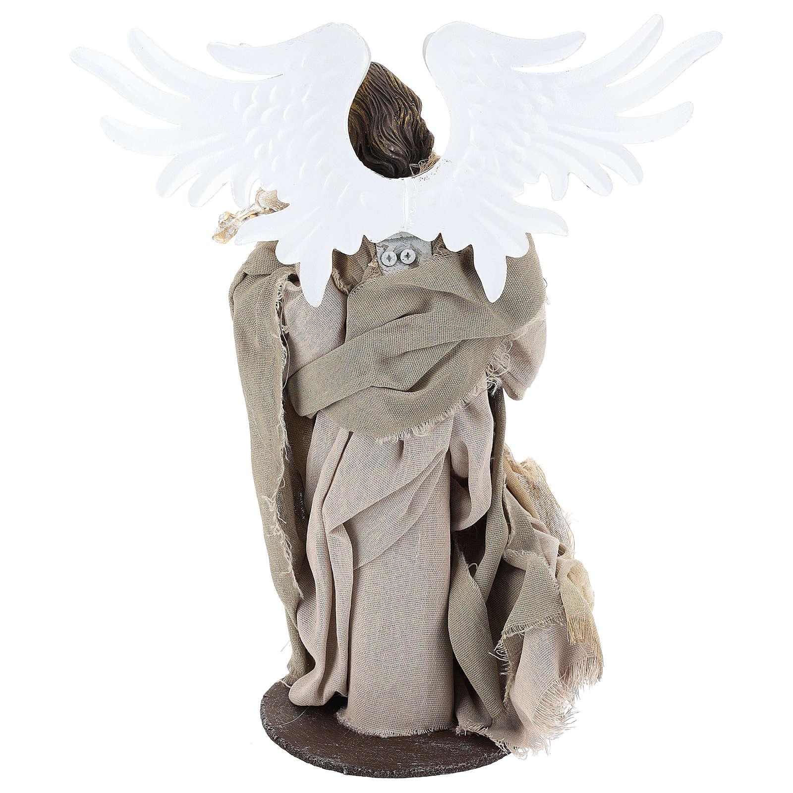 Ángel con violín 35 cm de resina y tejido beis 3