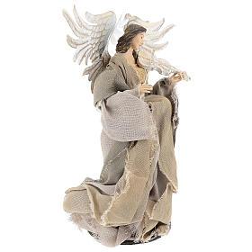 Ángel con violín 35 cm de resina y tejido beis s4