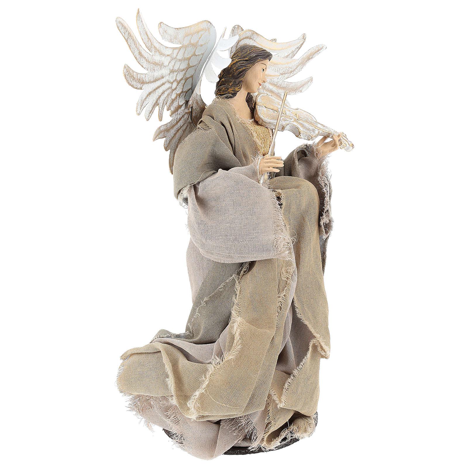 Angelo con violino 35 cm in resina e tessuto beige 3