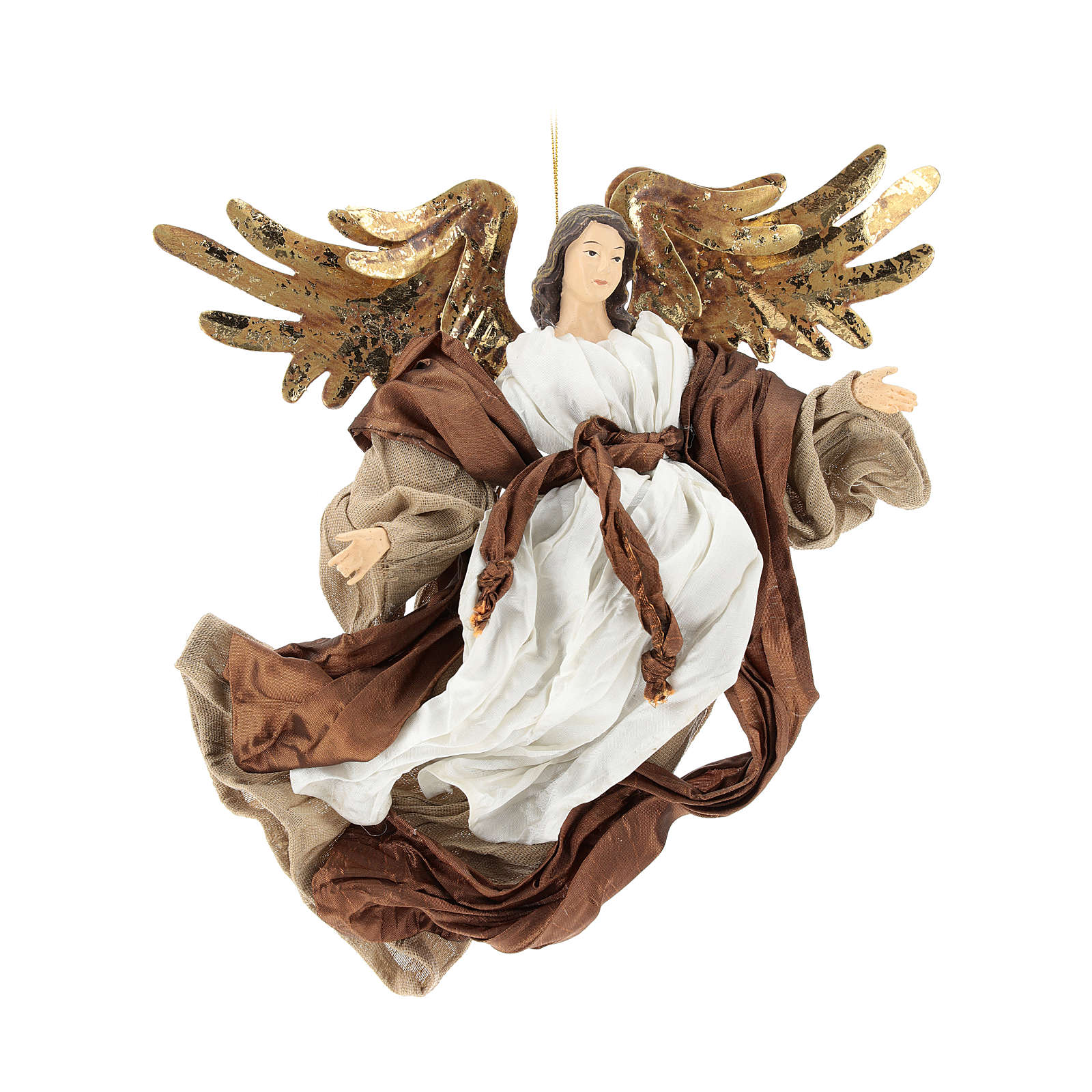 Resin angel with bronze-colored fabric with face facing right, Shabby Chic style 3