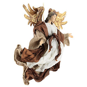 Resin angel with bronze-colored fabric with face facing right, Shabby Chic style s4