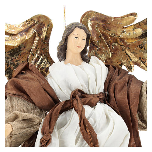 Resin angel with bronze-colored fabric with face facing right, Shabby Chic style 2