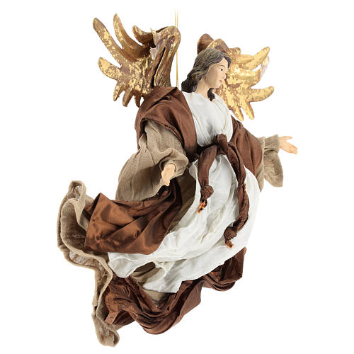 Resin angel with bronze-colored fabric with face facing right, Shabby Chic style 4