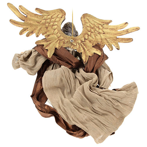 Resin angel with bronze-colored fabric with face facing right, Shabby Chic style 5