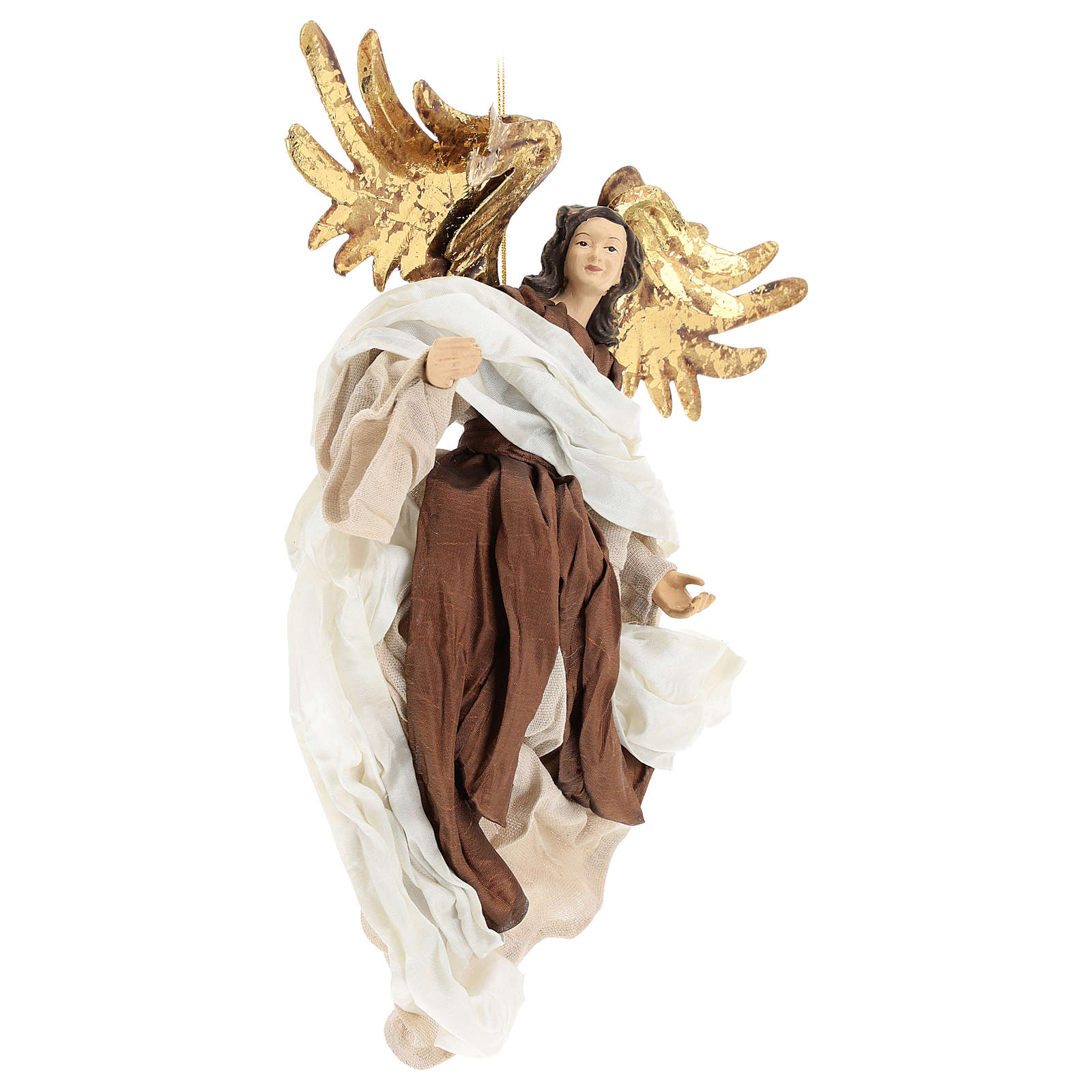 Resin angel with bronze-colored fabric with face facing left, Shabby Chic style 3