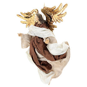 Resin angel with bronze-colored fabric with face facing left, Shabby Chic style s3