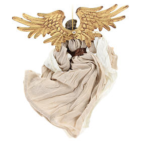 Resin angel with bronze-colored fabric with face facing left, Shabby Chic style s5