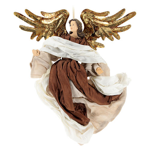 Resin angel with bronze-colored fabric with face facing left, Shabby Chic style 1