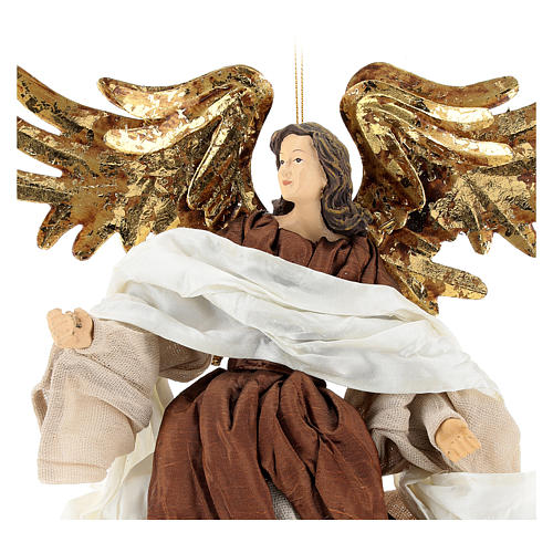 Resin angel with bronze-colored fabric with face facing left, Shabby Chic style 2