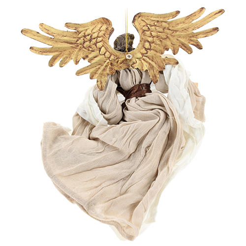 Resin angel with bronze-colored fabric with face facing left, Shabby Chic style 5
