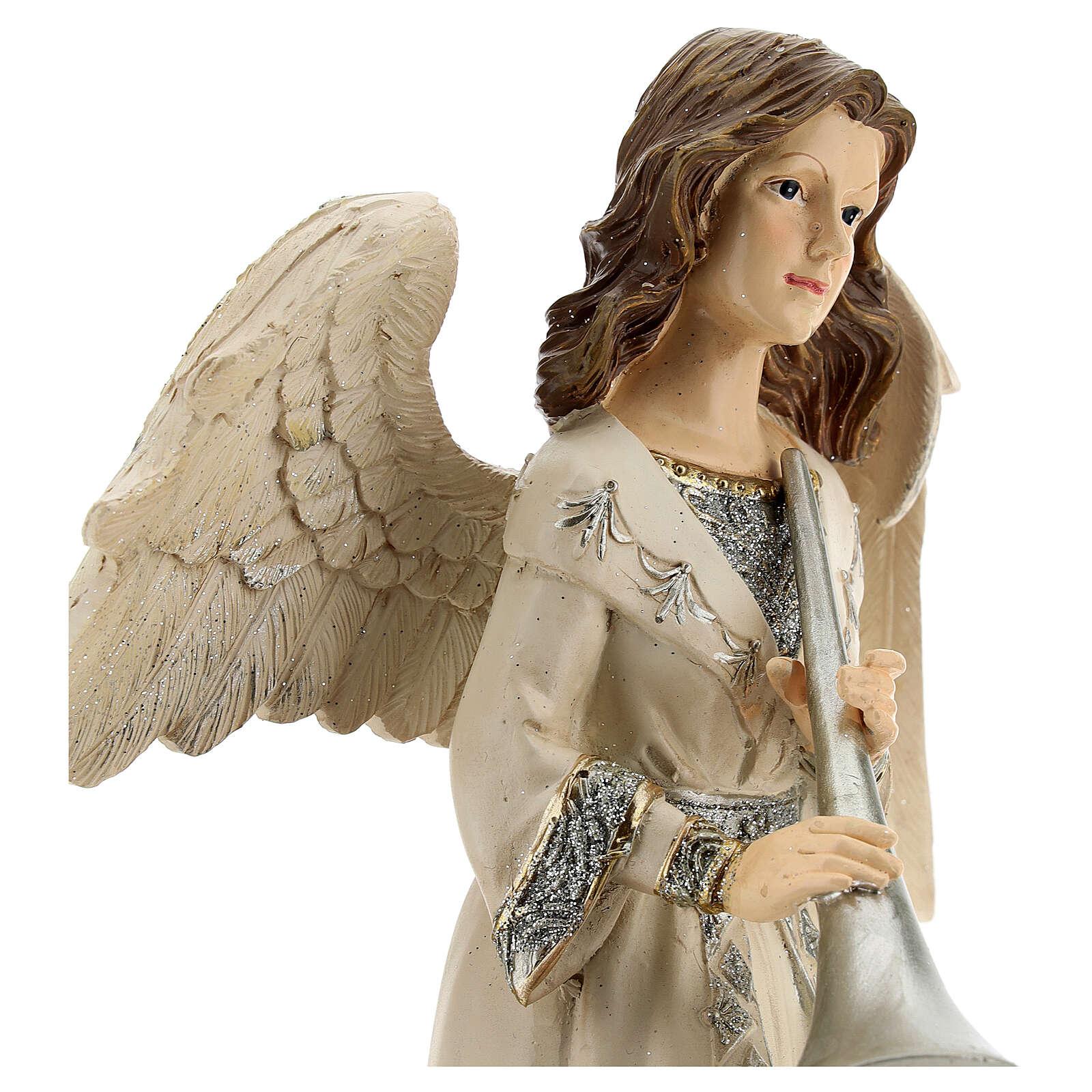 Angel with trumpet glitter 30 cm 3