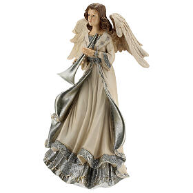 Angel with trumpet glitter 30 cm s3