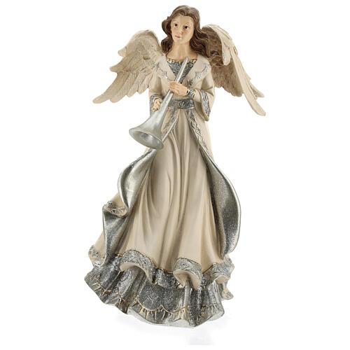 Angel with trumpet glitter 30 cm 1