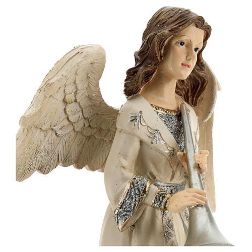 Angel with trumpet glitter 30 cm 2