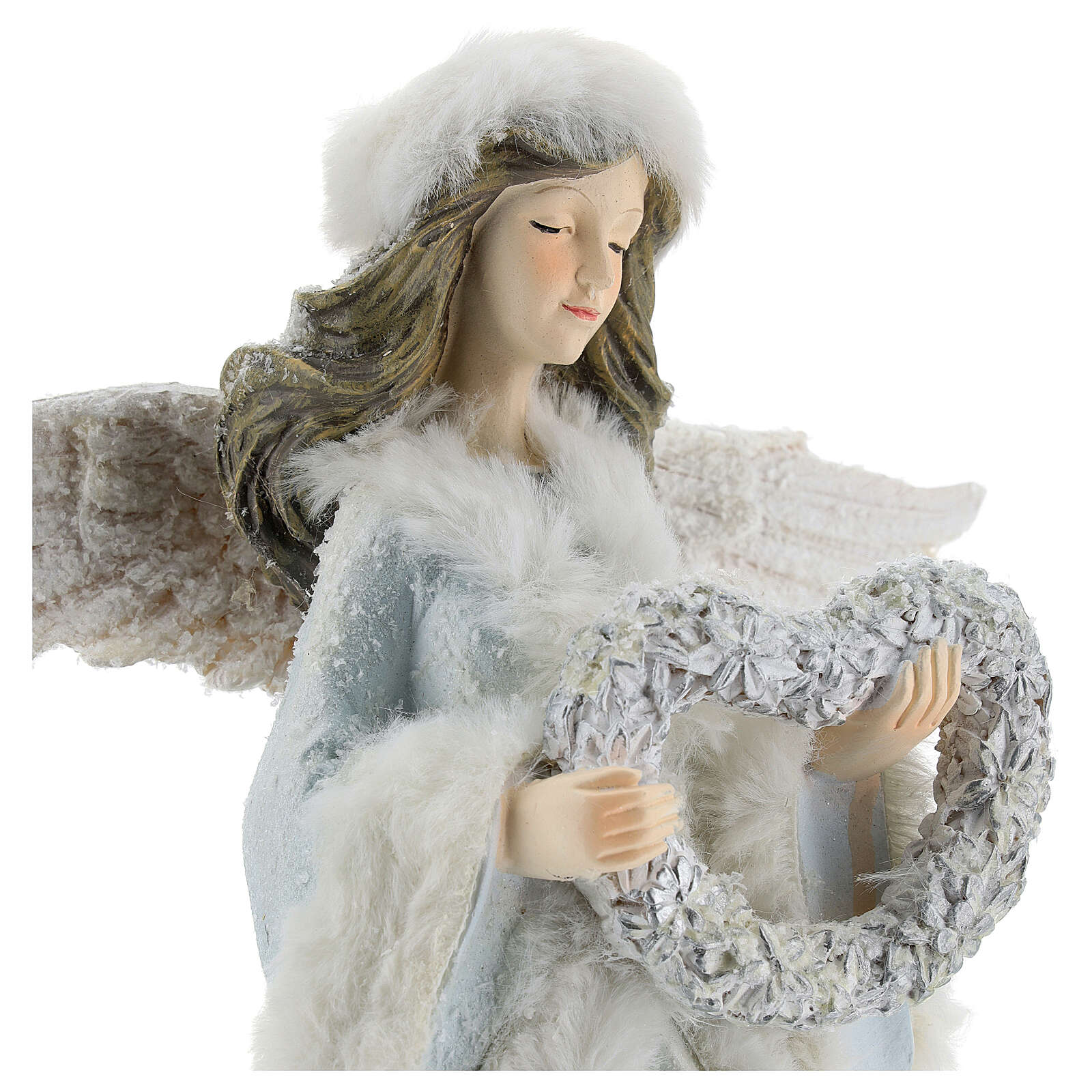 Angel with floral heart crown 35 cm 3