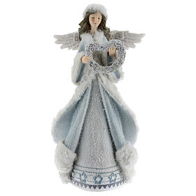 Angel with floral heart crown 35 cm s1