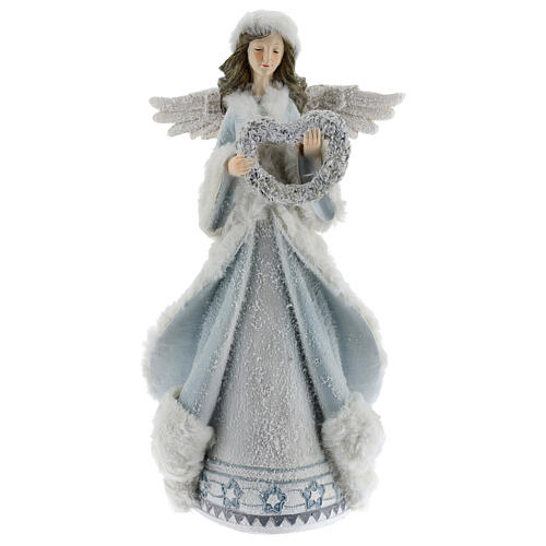Angel with floral heart crown 35 cm 1